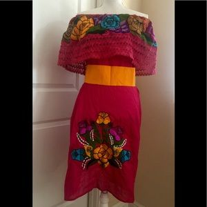Mexican off the shoulders dress belt included OS